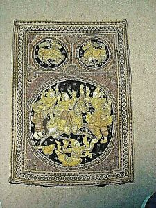 "*Old* Burmese Handmade Kalaga ""Dancing Ladies"" Tapestry Wall Hanging"