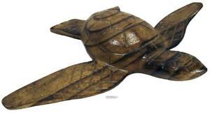 Marine Sea Turtle Tortoise Wood Carved Figurine 90s Fijian Small 13 x 18.5 cm