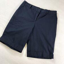 Ann Taylor Factory Womens Shorts Cotton Stretch Cuffed Bermuda Curvy Fit 8 Navy