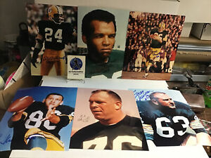 Lot of 6 Hof Green bay Packers autographed 8x10's w/coa wood, adderley, Thurston