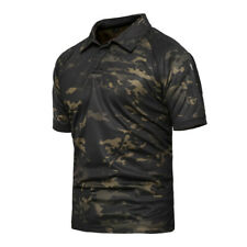 Mens Combat T-Shirt Army Military Tactical Short Sleeve POLO Casual Camouflage