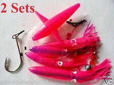 2 Sets Daisy Chain Bait Rig Bird Tuna Marlin Fishing Trolling Lures Souid -PINK