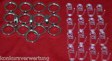 104 Metall Gardinenringe inkl. Faltenlegehaken, Edelstahloptik, ( 20 mm-innen )