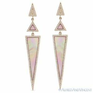 Pink Mother-of-Pearl and 0.52ct Diamond 14k Rose Gold Dangling Stiletto Earrings