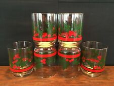 Set of 6 Vintage Libbey On the Rocks Glass Christmas Tumblers w/ Holly & Berries