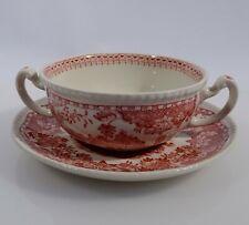 Woods Burslem Seaforth in rot Suppentasse mit Untertasse Keramik England mehrere