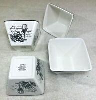 Ciroa Set 4 Black & White Wine Glass & Grapes Appetizer Dessert Rice Square Bowl