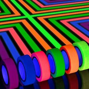 6 Colors Neon Gaffer Cloth Tape, Fluorescent UV Blacklight Glow in The Dark Tap