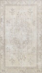 Vintage Geometric Muted Light Beige Tebriz Hand-knotted Area Rug Wool 6x9 Carpet
