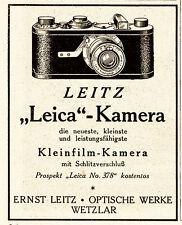 1925 Leica Kleinfilm-Kamera Schlitzverschluß ca. 7x9 cm original Printwerbung