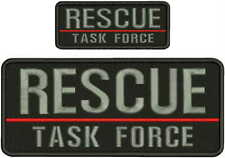 RESCUE TASK FORCE EMB PATCH 4X10 AND 2X5 HOOK ON BACK BLK/GRAY