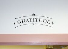 GRATITUDE Scroll Wall Art Decal Quote Words Lettering Decor Sticker