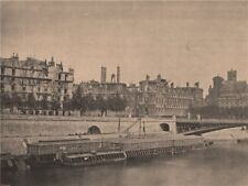 PARIS COMMUNE 1871. L'Hotel de Ville (vue prise du Pont d'Arcole.) c1873 print