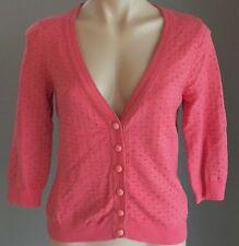 50's Inspired Coral  Silver Polka Dot KATHERINE 3/4 Sleeve Knit Cardigan Size 10
