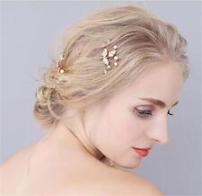 Diamante Bridal Headpieces Pearls Hair Headdress Gold Wedding Hair Clips 3 pcs