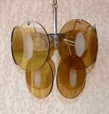 Suspension, lustre Vistosi années 70 3 ampoules, 10 pampilles