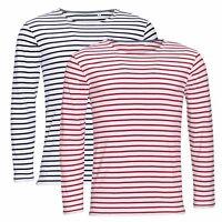 Pour Hommes Bleu ou Rouge et Blanc Rayé Rayure Manche Longue T-Shirt