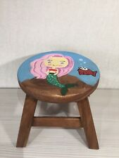 Hand Carved Painted Wooden Stool With Mermaid Fish Footstool.