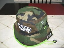 MENS NEW ERA SEATTLE SEAHAWKS CAMO/LIME GREEN  Bucket Hat XL NWT