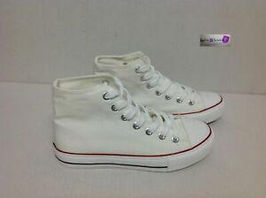 scarpe sneakers alte uomo stivaletto in tela bianche occhiel