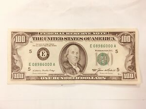 1985 ONE HUNDRED $100 DOLLARS Bill Federal Reserve Note Series 5 WASHINTON D.C.