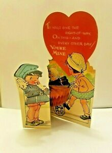 Vintage Valentines Day Card honeycomb Boy Policeman Puppy Girl Baby USA 6 X 3