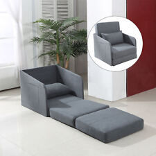 HOMCOM Single Sofa Bed Armchair Soft Floor Sleeper Lounger Futon Couch w/ Pillow