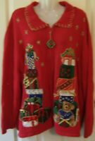 Womens XL Zena Jeans Christmas Holiday Ugly Party Sweater Zip Front Teddy Bear