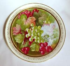 Vintage Dresden Plate or Platter with Grapes and Gold Trim