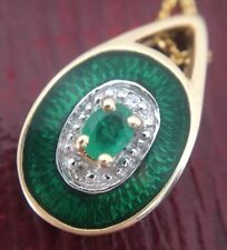 Vintage Pretty Enamel Emerald & Diamond Pendant Necklace 14ct 14K Yellow Gold