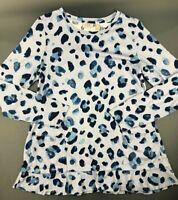 Logo by Lori Goldstein Women's Blouse Size M Blue Leopard Print with Pockets