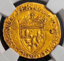 1547, Royal France, Francis I.Gold Ecu (with Sun) Coin. Bayonne! NGC AU-53!