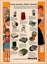1958 Philips Appliance Print Ad Mother and Happy Children Portable Record Player