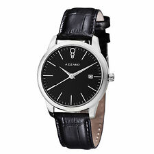 Azzaro Men's Legend Black Dial Leather Strap Swiss Quartz Watch AZ2040.12BB.000