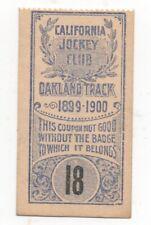 1899-1900 Owners Ticket California Jockey Club Oakland Racetrack