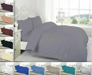 Brushed Flannel Plain Dyed 100% Cotton Bedding Set / Duvet Cover Sets All Sizes