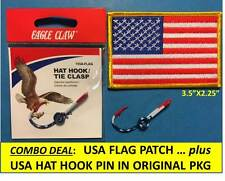"""Eagle Claw Original """"Usa Flag� Fish Hook Hat Pin + Usa Flag Embroidered Patch !"""