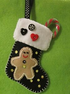 **HAND MADE**1 X MINI STOCKING-BLACK WITH GINGERBREAD HANGING TREE DECORATION**