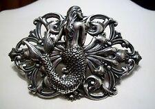 Handmade MERMAID PIN - STERLING SILVER PLTD  - Lrg BROOCH - Art Nouveau Design