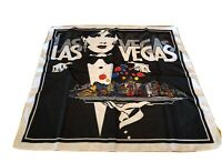 Vintage Las Vegas Souvenir Casino Hotel Scarf Skyline Pinup Dealer Strip Black