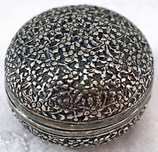 Lovely Asian Silver Intricate Pattern Snuff or Stash Box Floral Design