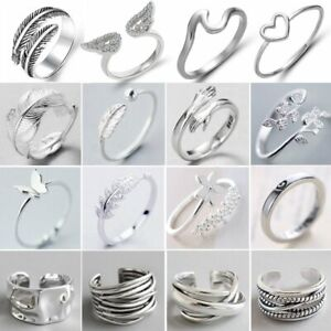 925 Silver Plated Zircon Love Heart Feather Knuckles Ring Open Ring Women Gift