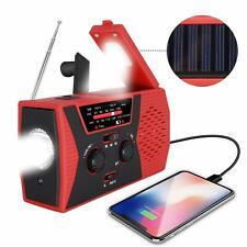 Emergency Solar LED Flashlight Hand Crank AM/FM/NOAA Radio ReadLamp Power Bank