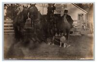 Farmyard, 3 Horses, Dog, Farmer RPPC Real Photo Postcard Divided Back Unposted