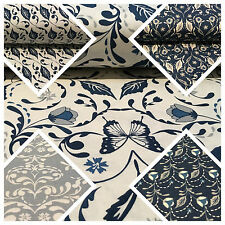 "Blue William Morris inspired Butterfly and leaves 100% cotton fabric 45"" M669"