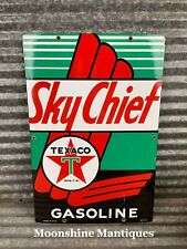 Original 1940's TEXACO SKY CHIEF Porcelain Gas Pump Plate Sign - Gas & Oil