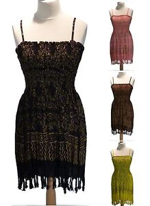 Strappy Boho Batik Sexy Sun Top Short Dress 12 14 16 18 20 Festival Layering