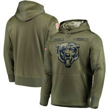 Chicago Bears Olive Salute to Service Sideline Therma Hoodie Sweater Pullover