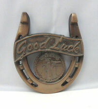 Vintage Copper Look Good Luck Horse Shoe Chicago Wall Hanger *