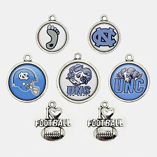7Pcs NCAA North Carolina Tar Heels UNC Football Logo Charms Glass Jewelry Gift